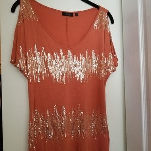 Burnt Orange Dress Top with Gold Sequences